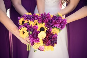 Purple Dahlia and Sunflower Wedding bouquets